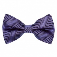 Purple Silk Pre-Tied Bow Tie with Black Wavy Lines